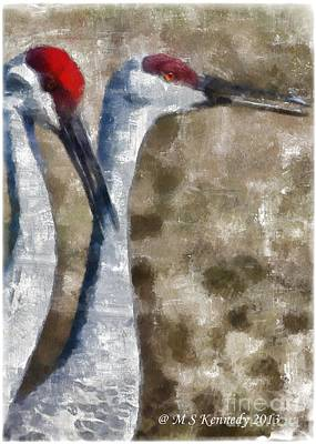 Crane Mixed Media - Two Heads Are Better Than One by Michael Kennedy