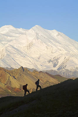 Northside Photograph - Two Hikers View Mckinley At Grassy Pass by Jeff Schultz