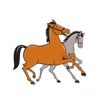Prancing Digital Art - Two Horses Prancing Side Cartoon by Aloysius Patrimonio
