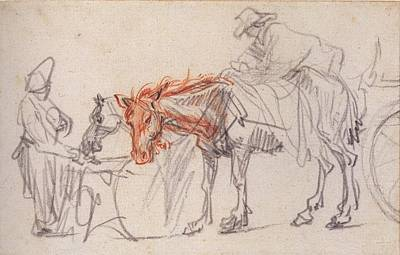 Artist Process Painting - Two Horses by Rembrandt
