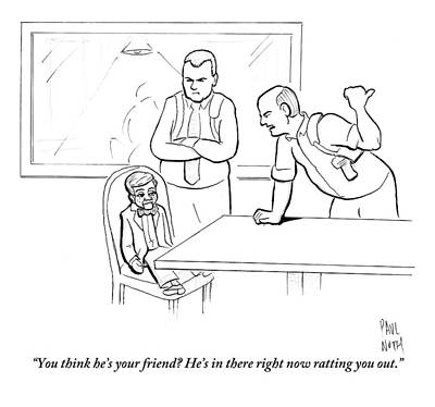 Tell Drawing - Two Interrogators Talk To A Ventriloquist's Dummy by Paul Noth