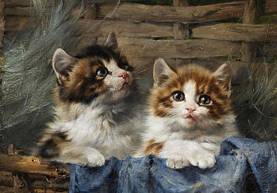 With Blue Painting - Two Kittens In Basket With Blue Cloth by Julius Adam