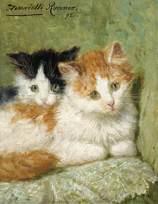 Henriette Ronner-knip Painting - Two Kittens Sitting On A Cushion by Henriette Ronner-Knip