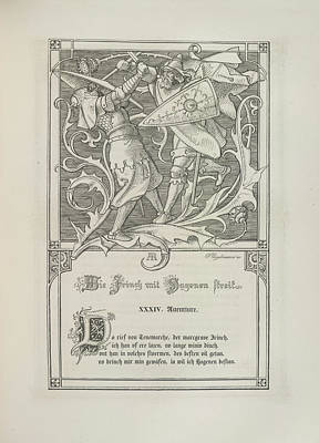 Two Knights Fighting Print by British Library