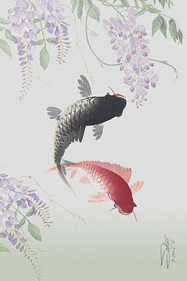 Koi Digital Art - Two Koi And Wisteria Blossoms by Matthew Schwartz