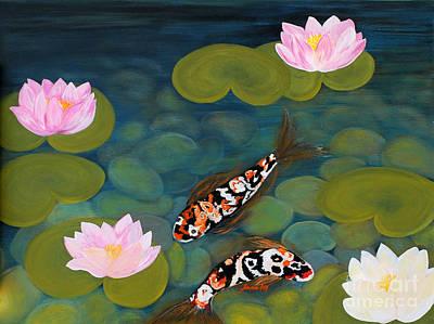 Unity Painting - Two Koi Fish And Lotus Flowers by Oksana Semenchenko