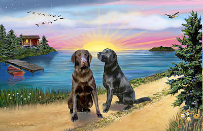 Chocolate Labrador Retriever Digital Art - Two Labs At The Lake by Jean B Fitzgerald