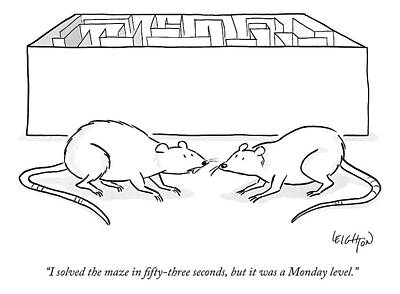 Maze Drawing - Two Labs Rats Speak Outside A Maze by Robert Leighton