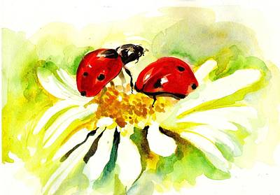 Two Ladybugs In Daisy After My Original Watercolor Print by Tiberiu Soos