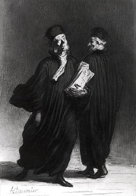 Two Lawyers, C.1862 Watercolour & Pencil On Paper Bw Photo Print by Honore Daumier