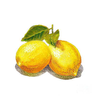 Two Lemons Print by Irina Sztukowski