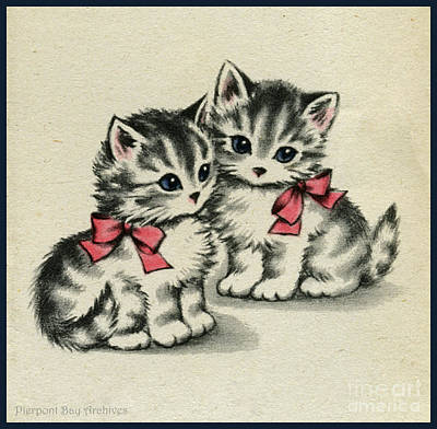 Two Little Kittens Happy To Be With You.  Print by Pierpont Bay Archives