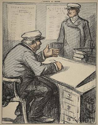 Desk Drawing - Two Maritime Gentlemen by Eugene Cadel