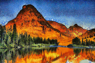 National Parks Mixed Media - Two Medicine Sunrise - Digital Painting by Mark Kiver