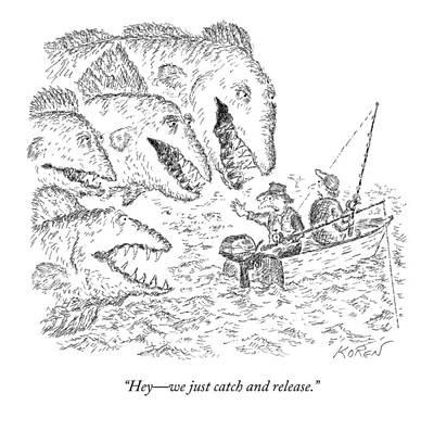 Giants Drawing - Two Men In A Fishing Boat Talking To Giant Sea by Edward Koren