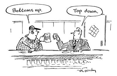 Two Men In Bar Toasting Their Drinks Print by Mike Twohy