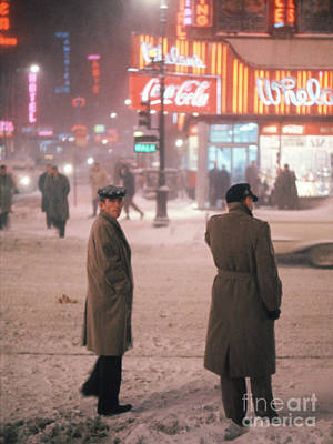 Times Square Photograph - Two Men In Nyc Snowstorm by The Harrington Collection