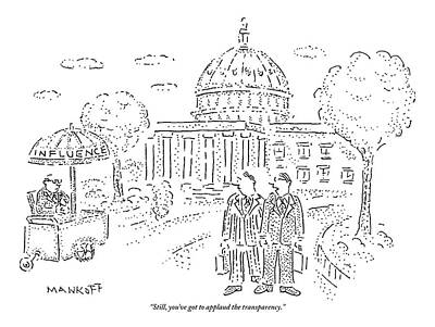 Two Men Speak In Front Of The Capitol And Look Print by Robert Mankoff
