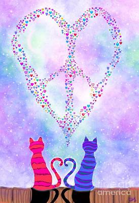 Kitty Digital Art - Two Of Hearts by Nick Gustafson