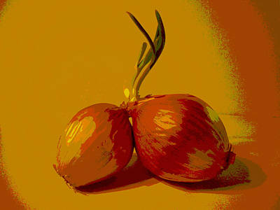 Growth Digital Art - Two Onions by Erica  Darknell