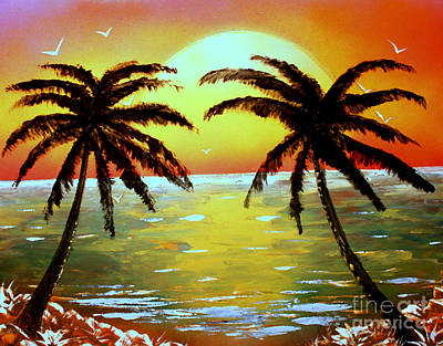 Two Palms Print by Greg Moores