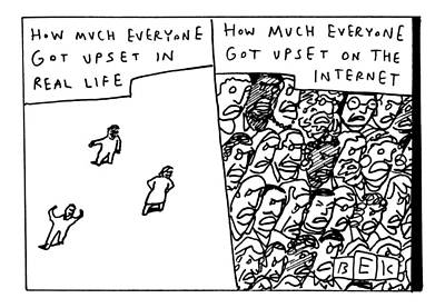 Two Panels: How Much Everyone Got Upset In Real Print by Bruce Eric Kaplan