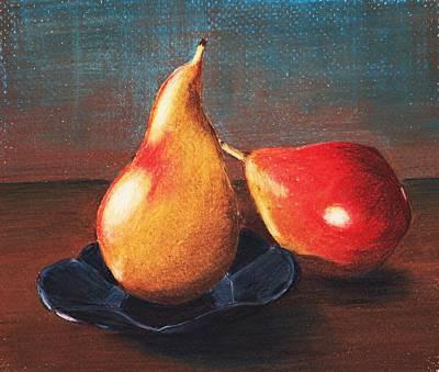Pear Drawing - Two Pears by Anastasiya Malakhova