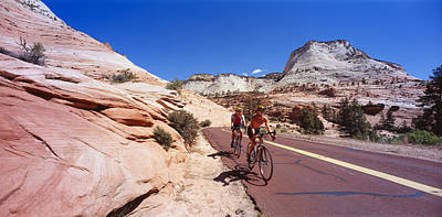 Zion National Park Photograph - Two People Cycling On The Road, Zion by Panoramic Images