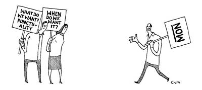 Signed Poster Drawing - Two People Holding Signs What Do We Want? by Tom Chitty
