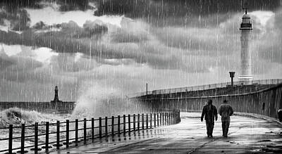 Rainy Day Photograph - Two People Walking Along The Water S by John Short