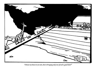 Noahs Ark Drawing - Two People Watch From An Ark As Animals Board by Bruce Eric Kaplan