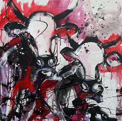 Cow Painting - Two Pink Cows by Irina Rumyantseva