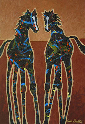 Contemporary Cowgirl Painting - Two Ponies by Lance Headlee