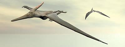 Two Pteranodon Dinosaurs Flying Print by Elena Duvernay