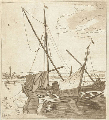 Bo Drawing - Two Sailboats In A River, Anthonie Van Den Bos by Artokoloro