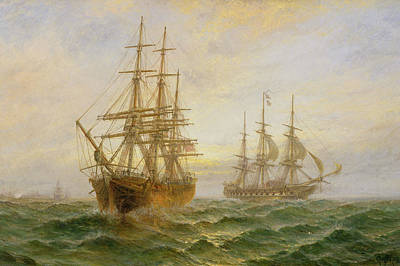 Pirate Ships Painting - Two Ships Passing At Sunset by Claude T Stanfield Moore