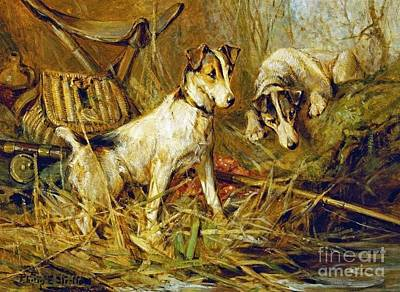 Purebred Painting - Two Smooth-haired Fox Terriers by Celestial Images