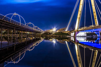 Marine Way Bridge Photograph - Two Southport Bridges by Paul Madden