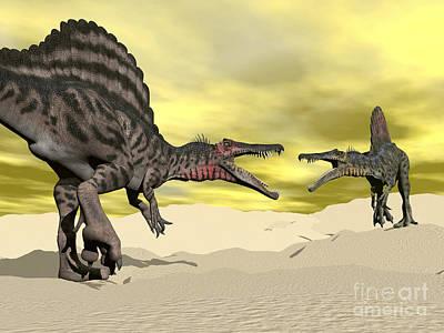 Anger Digital Art - Two Spinosaurus Dinosaur Fighting by Elena Duvernay