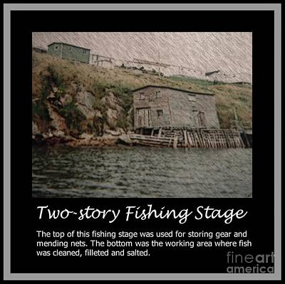 Two-story Fishing Stage Print by Barbara Griffin