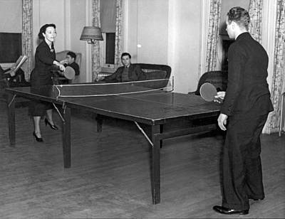 Ping Pong Photograph - Two Students Playing Ping-pong In The Recreation Hall At Columbi by Underwood Archives