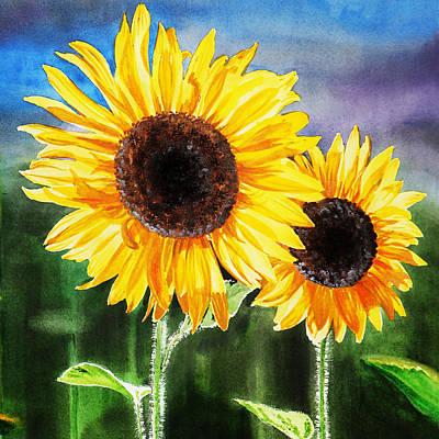 Blooming Painting - Two Suns Sunflowers by Irina Sztukowski