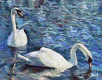 Lake Painting - Two Swans On Lake Bled by Dragica  Micki Fortuna