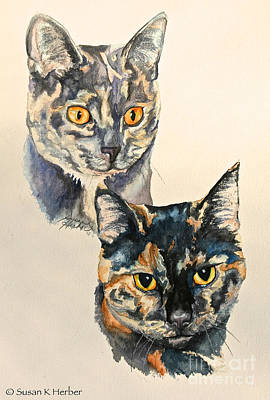 Domestic Short Hair Cat Painting - Two Torti's by Susan Herber