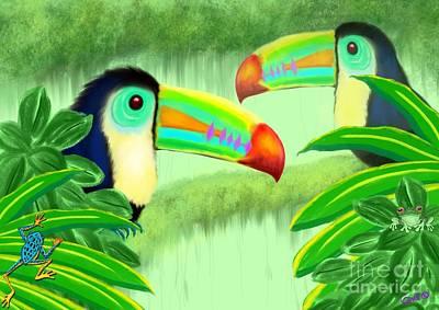 Toucan Digital Art - Two Toucans by Nick Gustafson
