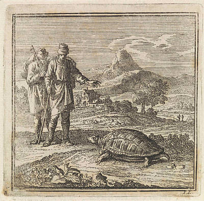 Two Travelers Admire A Turtle, Jan Luyken Print by Jan Luyken And Wed. Pieter Arentsz & Cornelis Van Der Sys (ii)