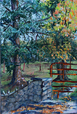 Two Trees And A Gate Print by Janet Felts