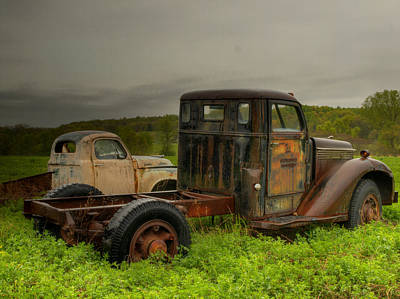 Two Trucks Print by Thomas Young
