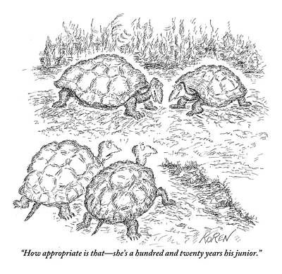 Sugar Drawing - Two Turtles Look On As A Male And Female Turtle by Edward Koren