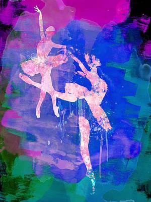 Couple Mixed Media - Two White Ballerinas Watercolor by Naxart Studio